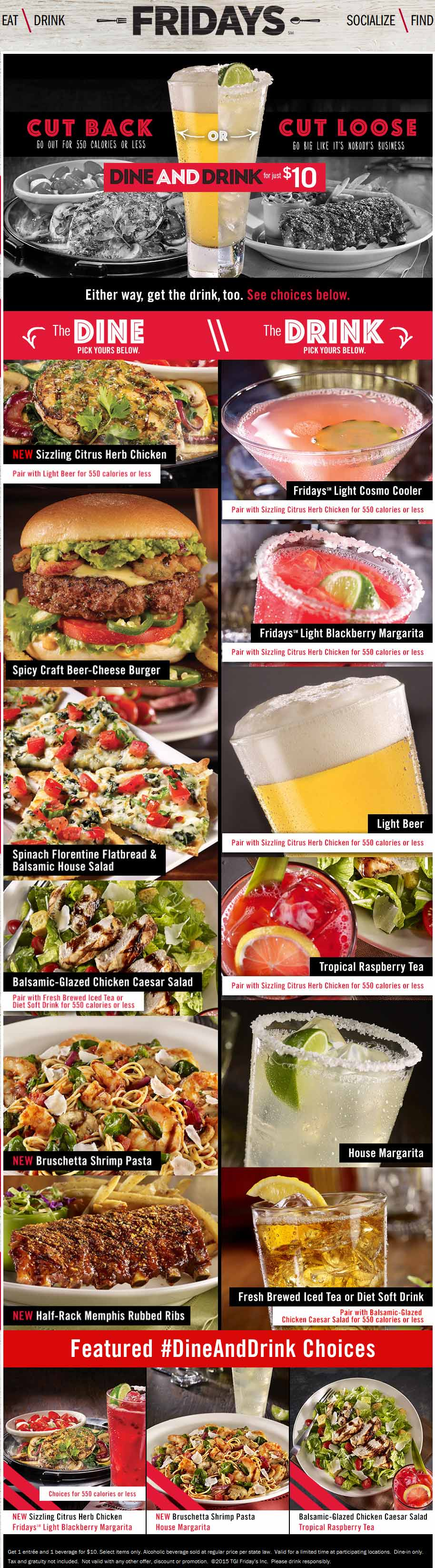 TGI Fridays Coupon December 2016 Entree & some booze for $10 at TGI Fridays