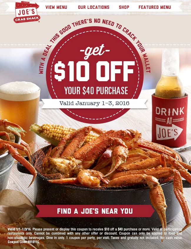Joes Crab Shack Coupon October 2017 $10 off $40 at Joes Crab Shack restaurants