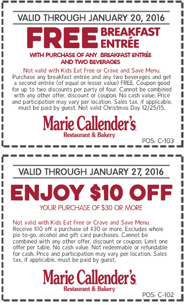 Marie Callenders Coupon May 2018 $10 off $30 & second breakfast free at Marie Callenders