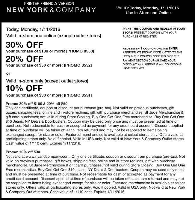 New York & Company Coupon April 2017 10-30% off $30+ today at New York & Company, or online via promo code 8551