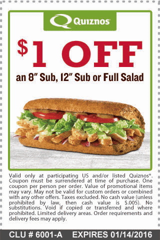 Quiznos Coupon January 2017 Shave a buck off your sub or salad from Quiznos