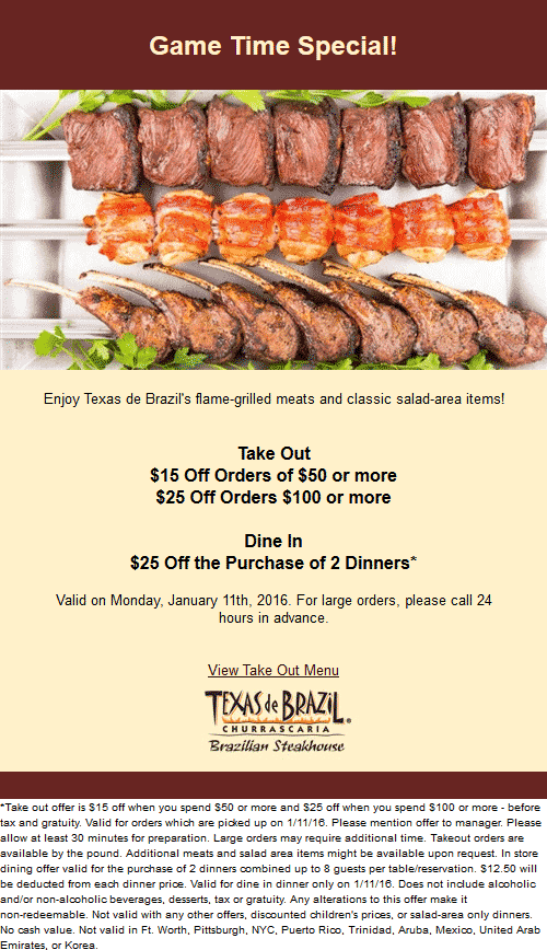 Texas de Brazil Coupon May 2017 $25 off a couple dinners & more today at Texas de Brazil steakhouse