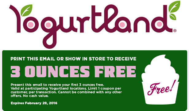 Yogurtland Coupon September 2017 3oz of frozen yogurt free at Yogurtland
