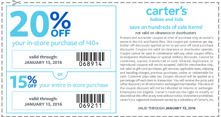 Carters Coupon December 2016 15-20% off at Carters, or online via promo code JAN15OFF