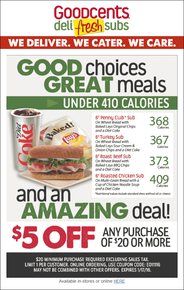 Goodcents Coupon December 2016 $5 off $20 at Goodcents Deli Fresh Subs