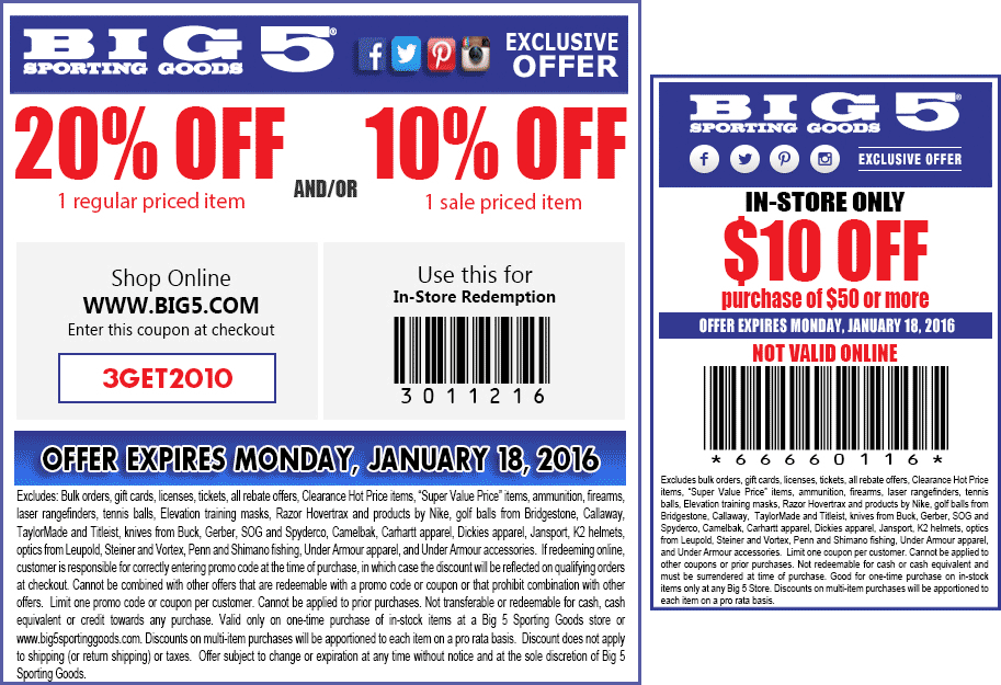 Big 5 Coupon September 2017 20% off a single item & more at Big 5 sporting goods, or online via promo code 3GET2010