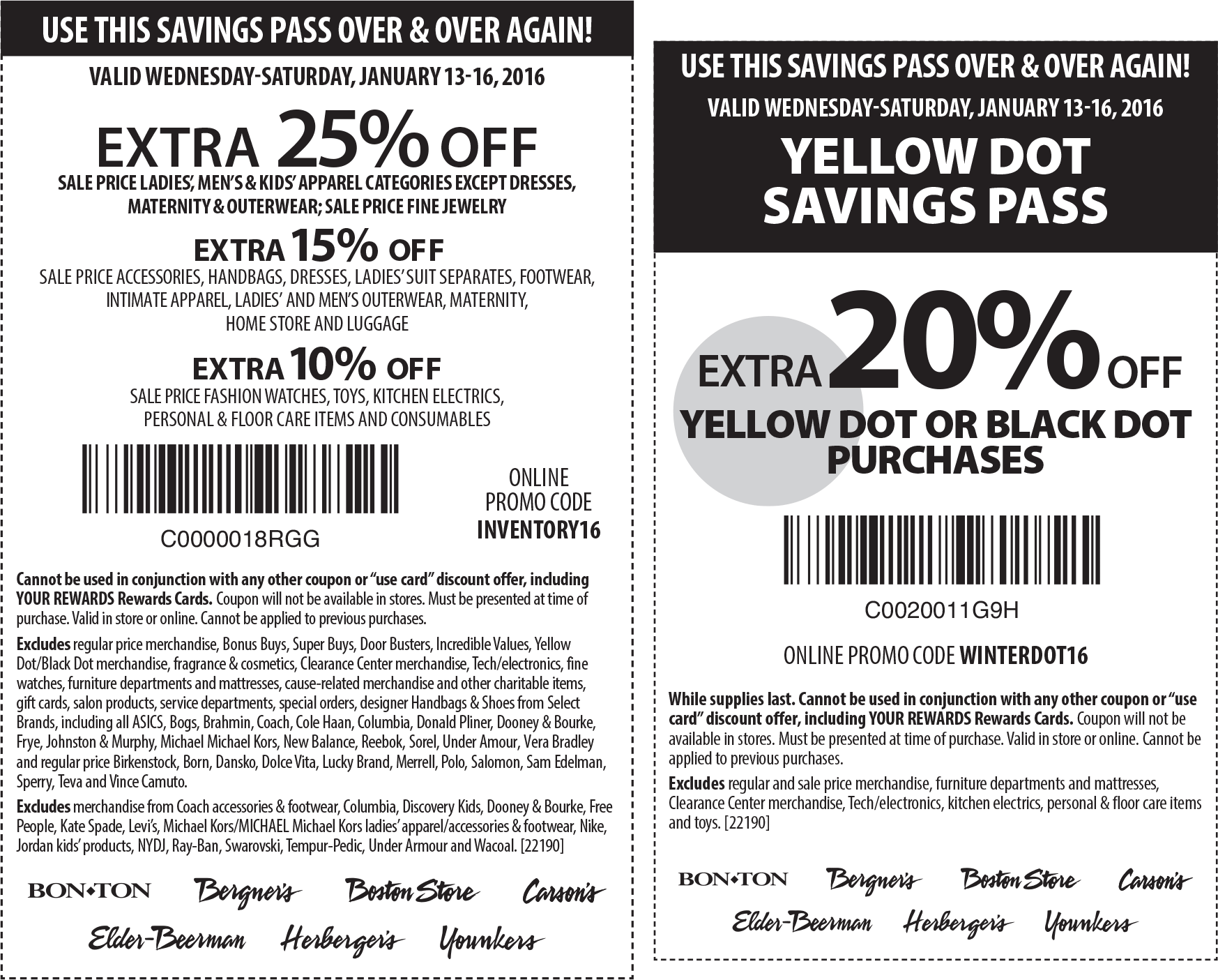 Carsons Coupon February 2017 Extra 25% off & more at Bon Ton, Carsons & sister stores, or online via promo code INVENTORY16