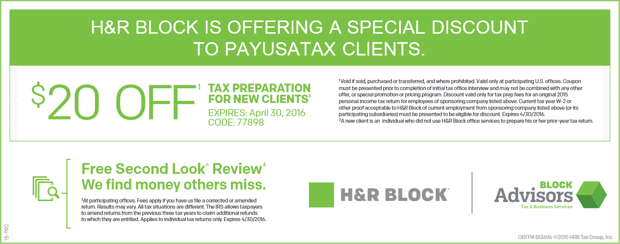 H&R Block Coupon June 2017 $20 off new tax clients at H&R Block