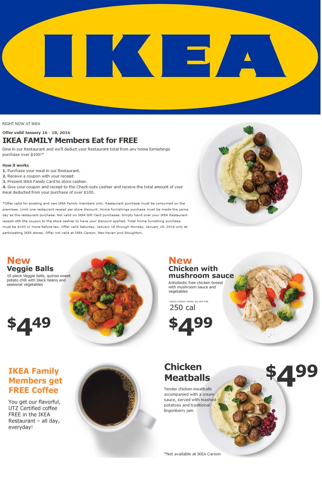 IKEA Coupon April 2017 Free coffee daily, free meal on $100 spent at IKEA furniture