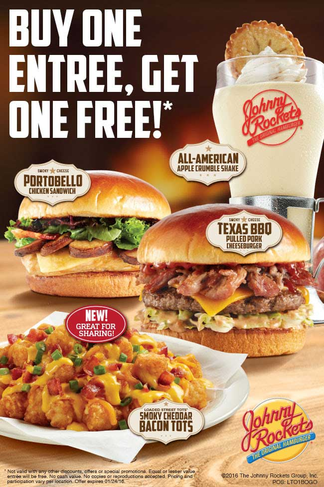 Johnny Rockets Coupon April 2017 Second entree free at Johnny Rockets