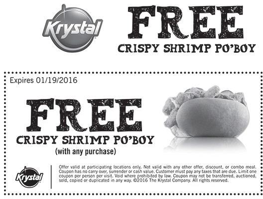 Krystal Coupon January 2017 Free shrimp po boy with any order at Krystal restaurants