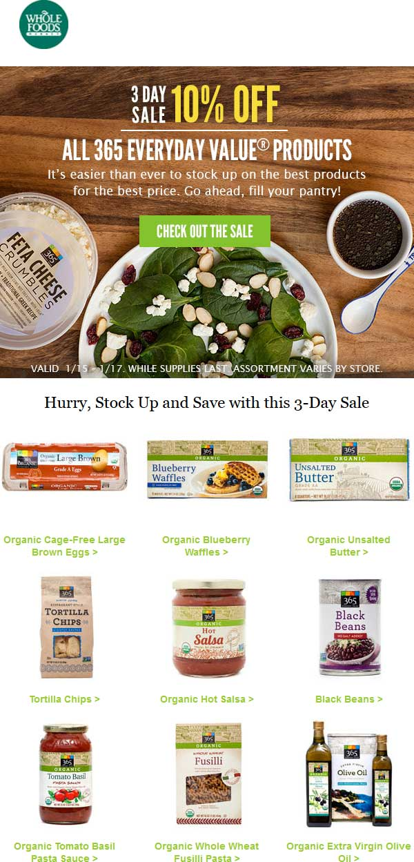 Whole Foods Coupon August 2017 10% off all store brand products this weekend at Whole Foods market