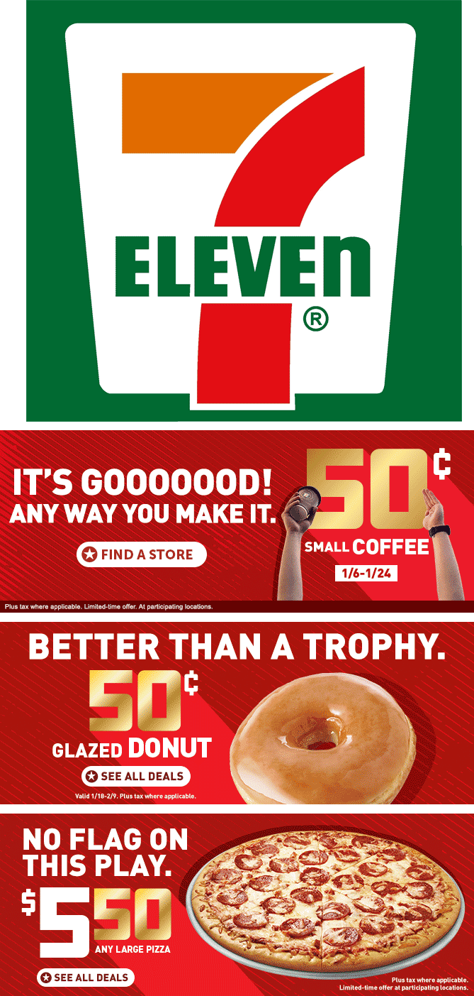 7-Eleven Coupon December 2016 .50 cent coffee & same for a donut at 7-Eleven