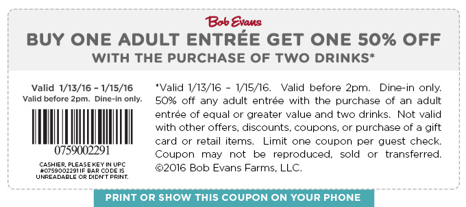 Bob Evans Coupon February 2019 Second entree 50% off at Bob Evans