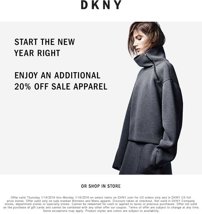 DKNY Coupon January 2017 Extra 20% off sale items at DKNY, ditto online