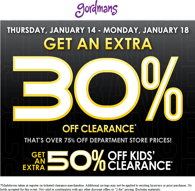 Gordmans Coupon September 2017 Extra 30% off clearance at Gordmans