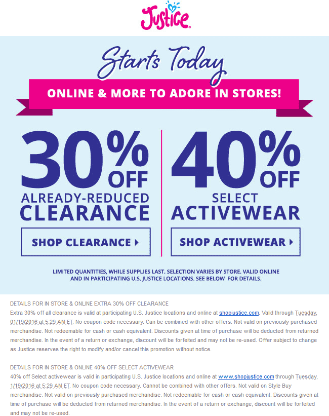 Justice Coupon November 2018 Extra 30% off clearance & more at Justice, ditto online