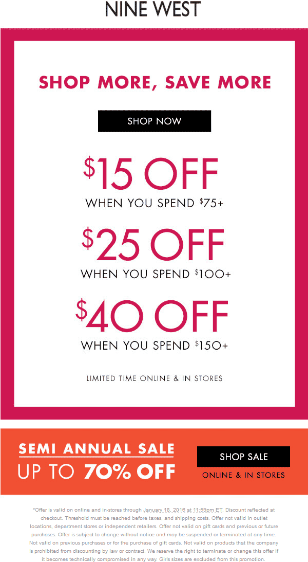 Nine West Coupon March 2018 $15 off $75 & more at Nine West, ditto online