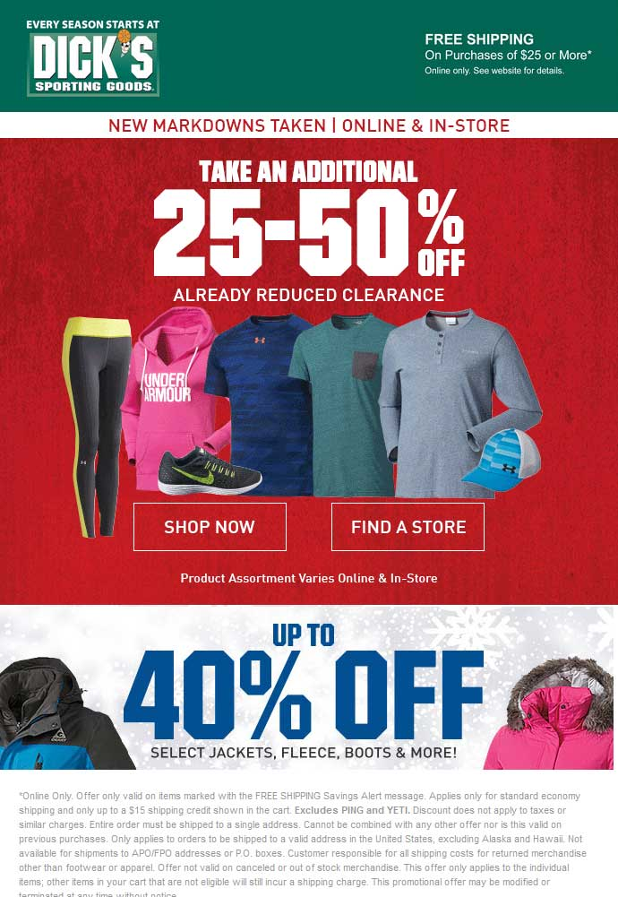 Dicks Coupon November 2017 Extra 25-50% off clearance at Dicks sporting goods, ditto online w/free ship over $25