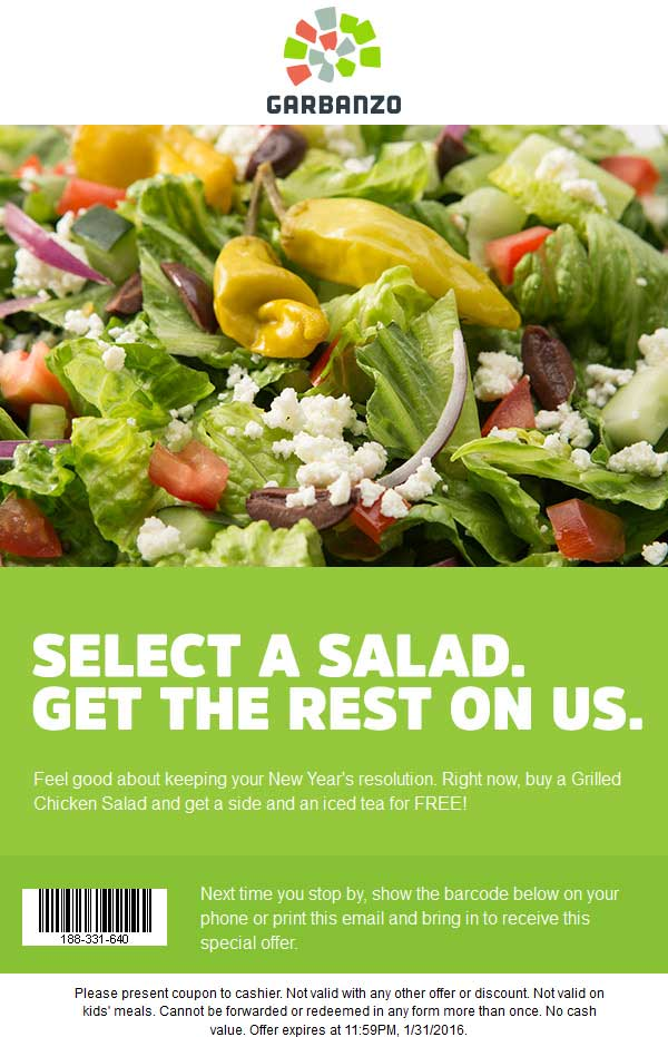 Garbanzo Coupon May 2017 Side item + iced tea free with your salad at Garbanzo fresh Mediterranean