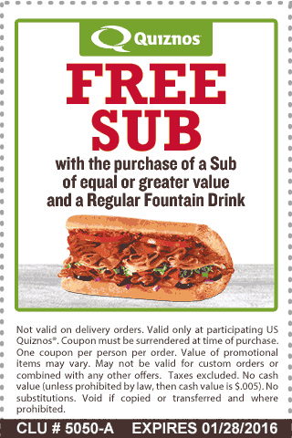 Quiznos Coupon September 2017 Second sub free at Quiznos