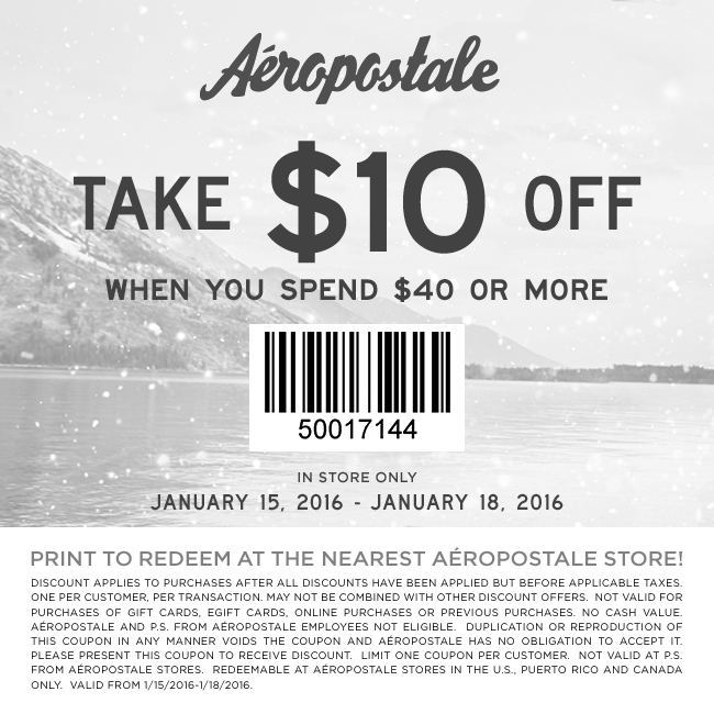 Aeropostale Coupon November 2017 $10 off $40 at Aeropostale