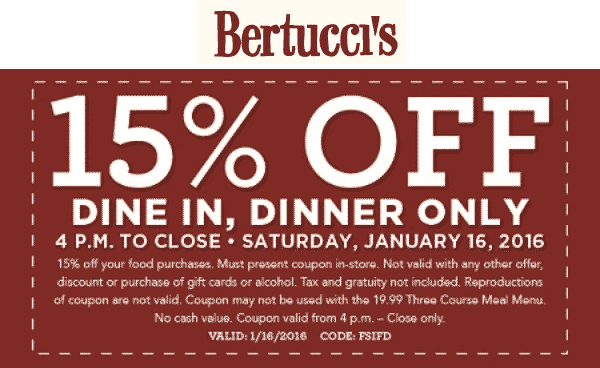 Bertuccis Coupon January 2018 15% off dinner tonight at Bertuccis restaurants