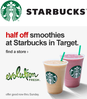 Starbucks Coupon June 2017 Smoothies are 50% off at Starbucks inside Target