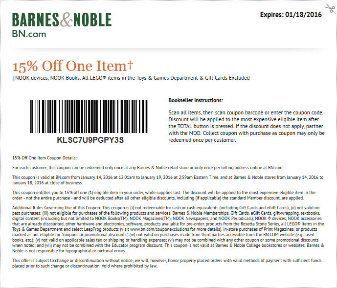 Barnes & Noble Coupon December 2016 15% off a single item at Barnes & Noble