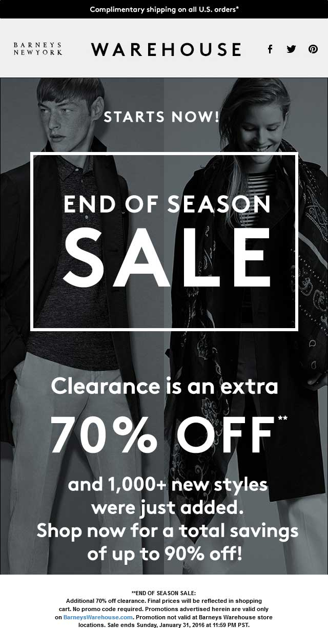 Barneys Warehouse Coupon September 2017 Extra 70% off clearance online at Barneys Warehouse