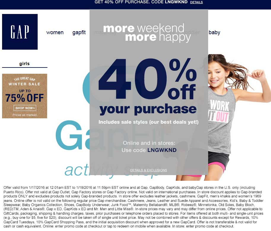 Gap Coupon January 2017 40% off at Gap, or online via promo code LNGWKND
