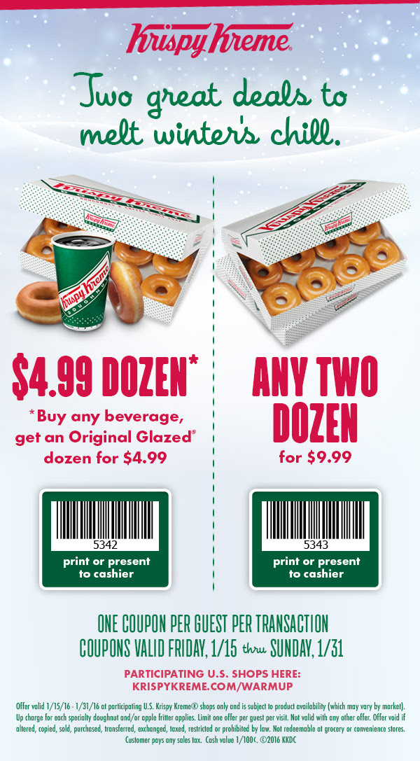 Krispy Kreme Coupon June 2017 Two dozen doughnuts for $10, $5 dozen with your coffee all month at Krispy Kreme