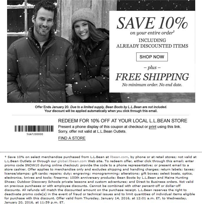 L.L.Bean.com Promo Coupon 10% off at L.L.Bean, or online via promo code SNOW10