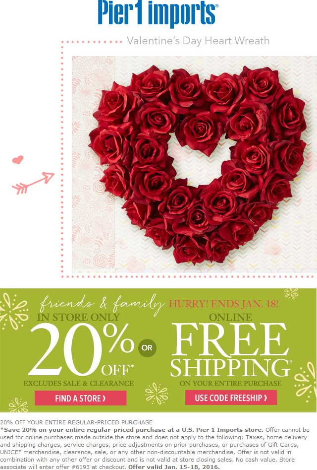 Pier1Imports.com Promo Coupon 20% off at Pier 1 Imports, or free shipping online via promo code FREESHIP
