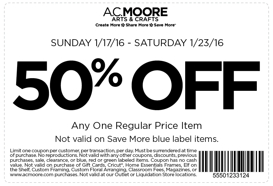 A.C. Moore Coupon November 2018 50% off a single item at A.C. Moore