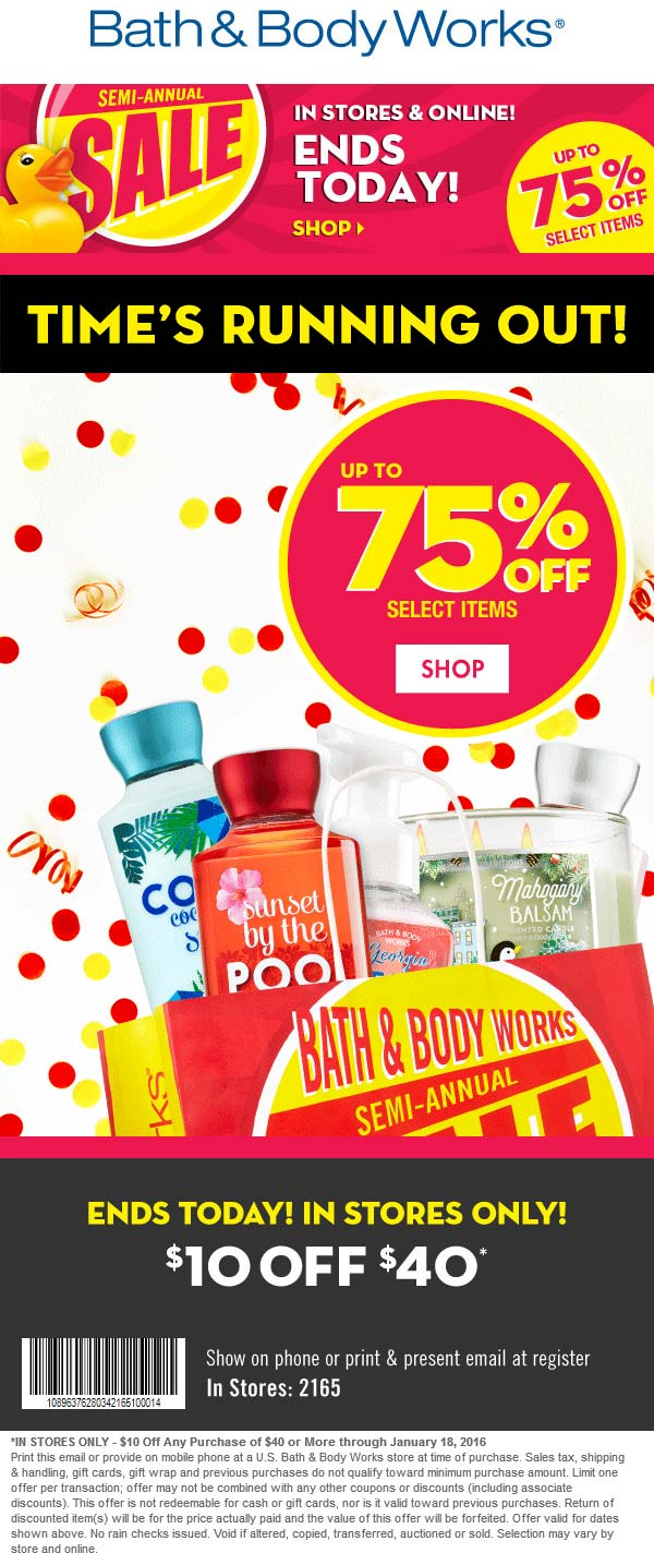 Bath & Body Works Coupon March 2017 $10 off $40 today at Bath & Body Works