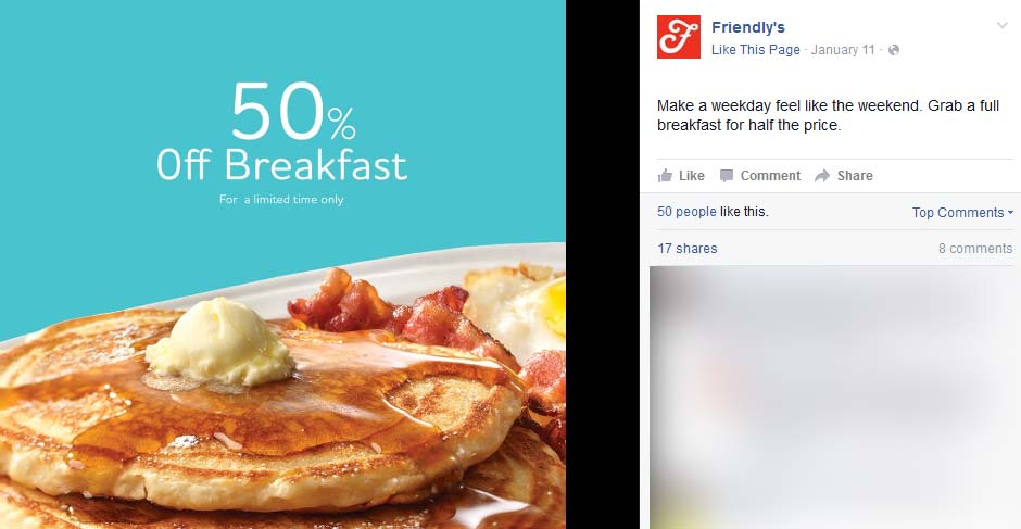 Friendlys Coupon January 2018 50% off breakfast at Friendlys