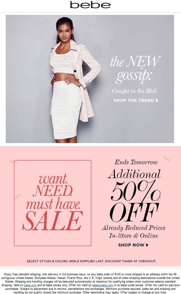 Bebe Coupon September 2017 Extra 50% off sale items at bebe, ditto online