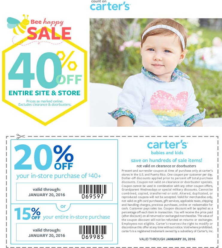 Carters Coupon April 2017 15-20% off $40 + 40% off everything at Carters, ditto online