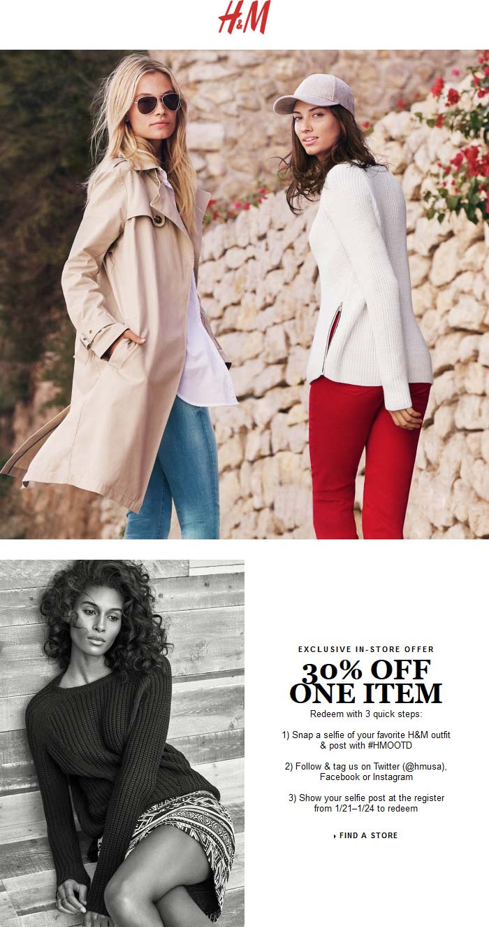H&M Coupon January 2018 Jump through some hoops for 30% off a single item at H&M