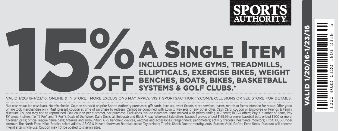 Sports Authority Coupon January 2017 15% off a single big ticket item at Sports Authority