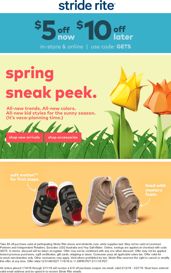 Stride Rite Coupon February 2019 $5 off now & $10 off followup at Stride Rite, or online via promo code GET5