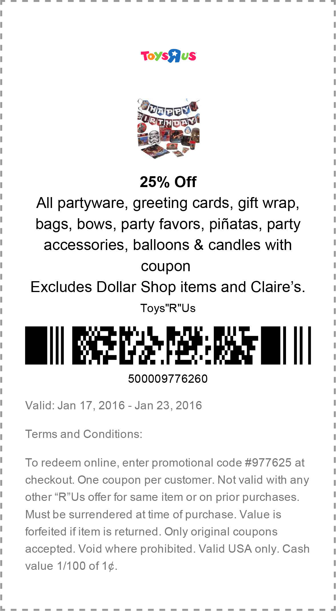 Toys R Us Coupon January 2017 25% off party supplies at Toys R Us