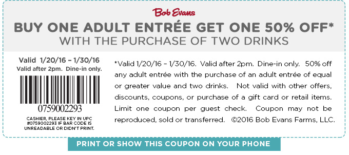 Bob Evans Coupon May 2018 Second entree 50% off at Bob Evans