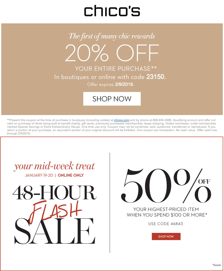 Chicos Coupon July 2017 20% off at Chicos, or online via promo code 23150