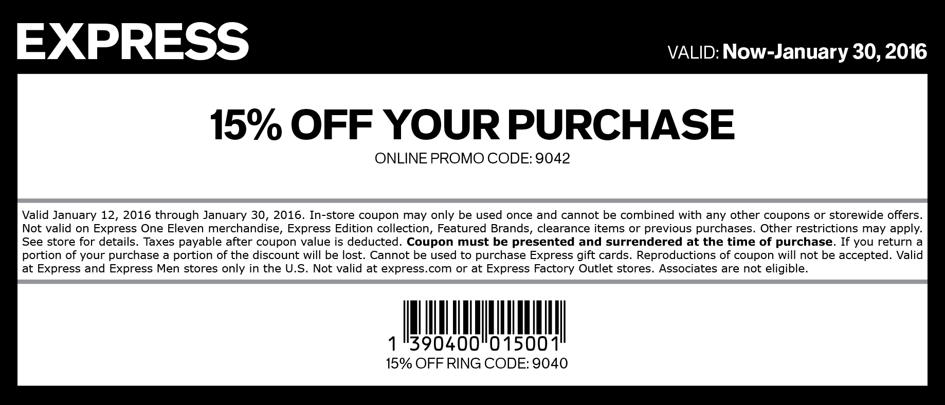 Express Coupon September 2017 15% off at Express, or online via promo code 9042