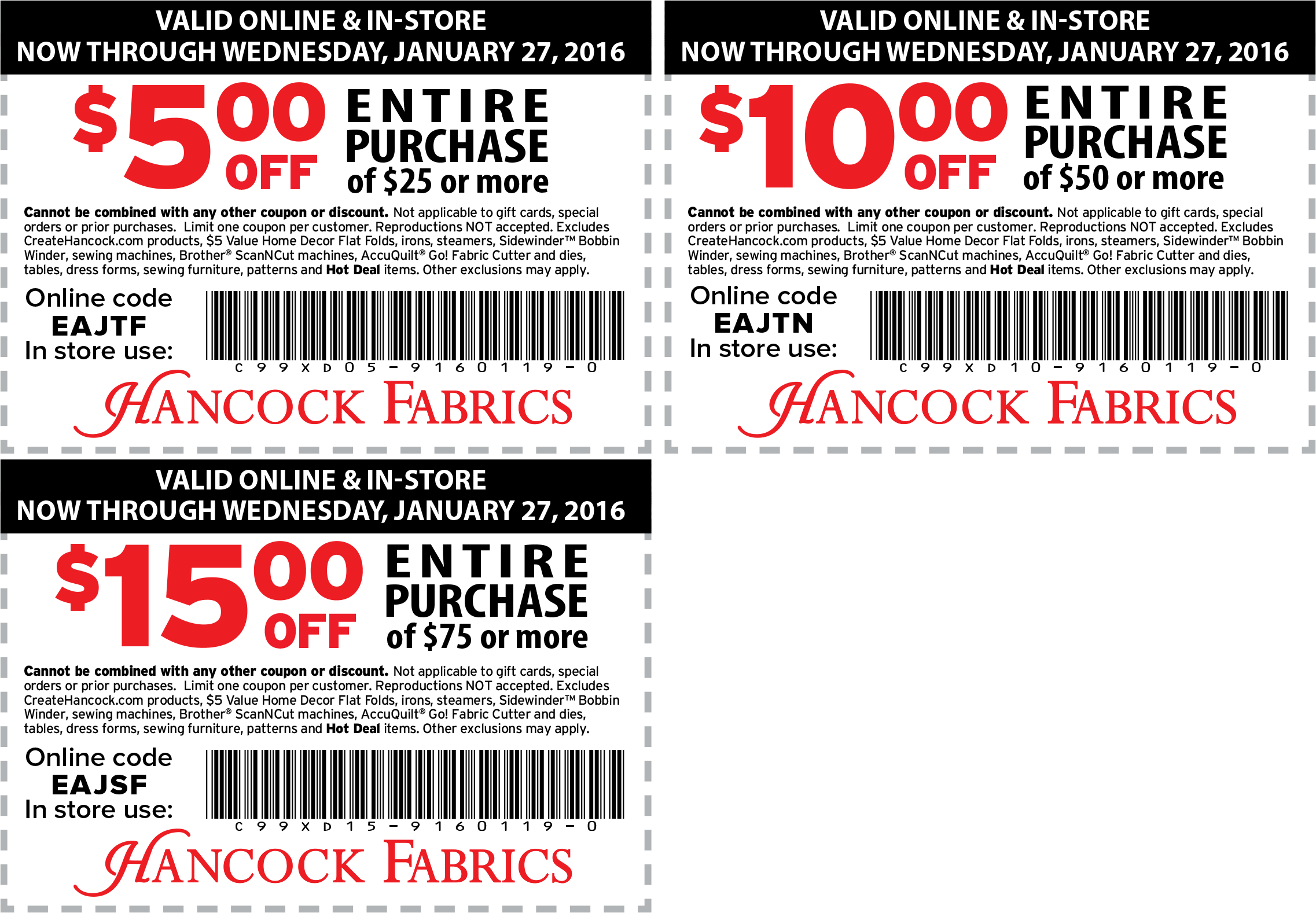 Hancock Fabrics Coupon March 2018 $5 off $25 & more at Hancock Fabrics, or online via promo code EAJTF