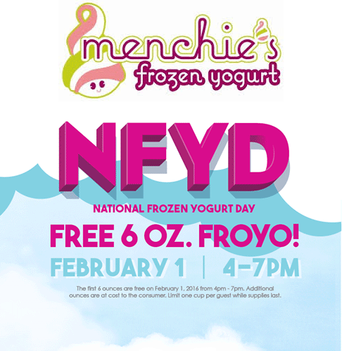 Menchies Coupon October 2016 6oz frozen yogurt free the 1st at Menchies