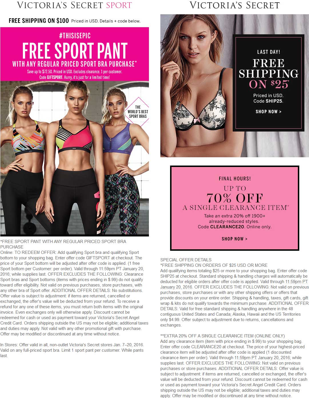 Victorias Secret Coupon September 2017 Free sport pant with your sport bra today at Victorias Secret, or online via promo code GIFTSPORT