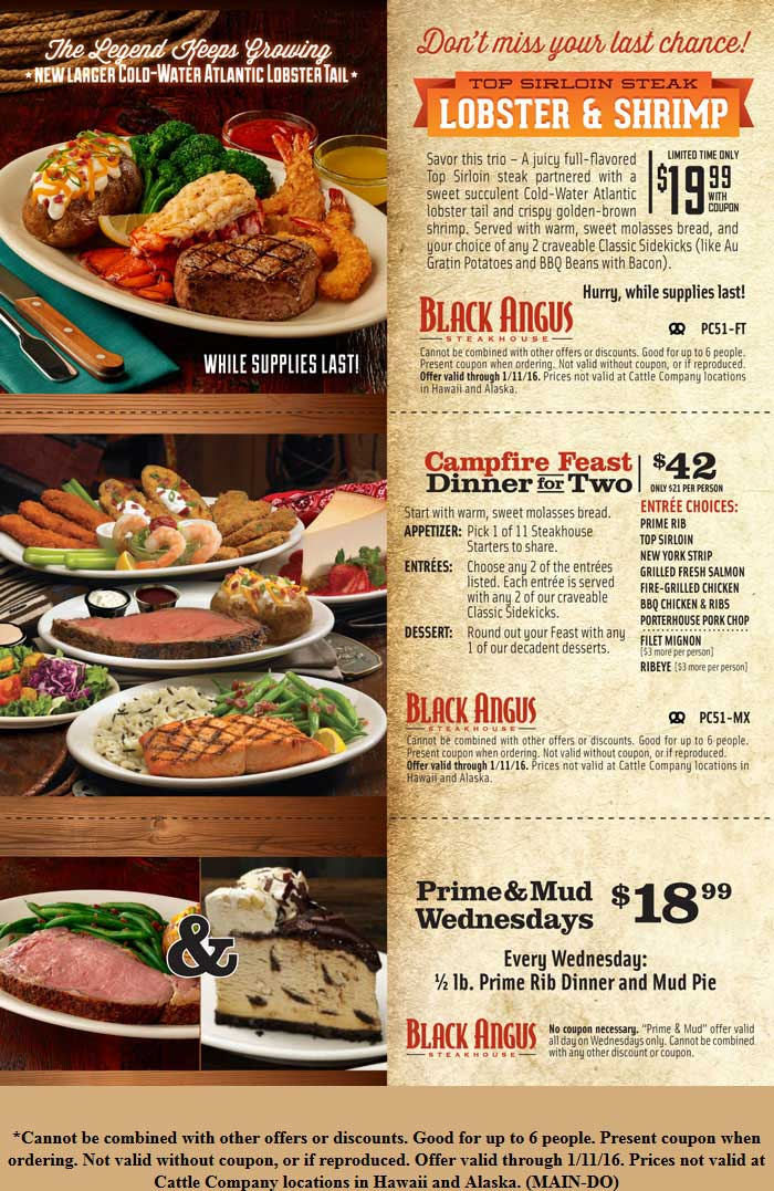Black Angus Coupon January 2018 Top sirloin steak + lobster + shrimp + 2 sides = $20 at Black Angus steakhouse